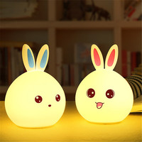 Colorful Rabbit LED Night Light Silicone Cartoon USB Charging Cute Happy Pet Decompression Two Style Touch
