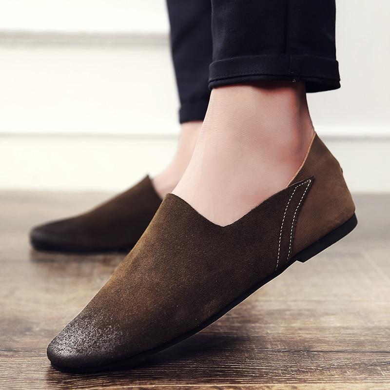 PINSV High Quality Leather Shoes Men Casual Cow Suede Flats Fashion Men Leather Shoes Outdoor Mens Shoes Large Sizes38-46 men s cowboy jeans fashion blue jeans pant men plus sizes regular slim fit denim jean pants male high quality brand jeans