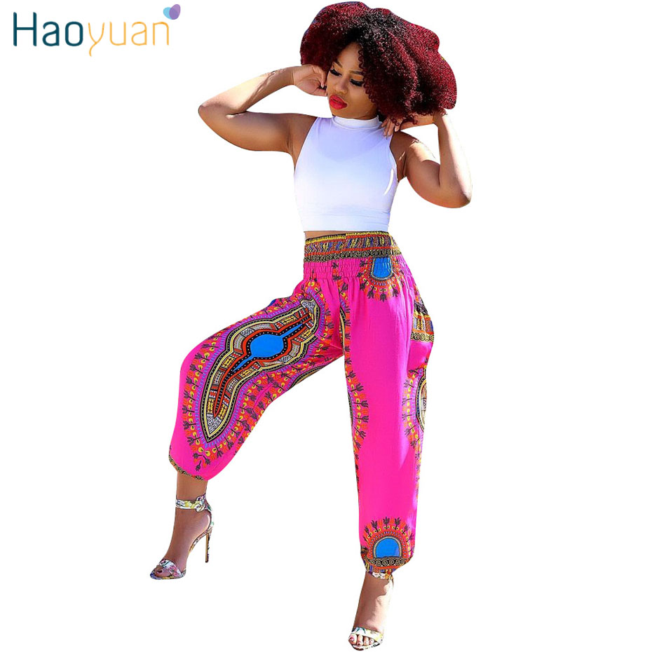 HAOYUAN Bohemian Loose   Pant   Women 2019 Streetwear Casual High Waist Boho Flare Totem Print Summer Beach Trousers   Wide     Leg     Pants