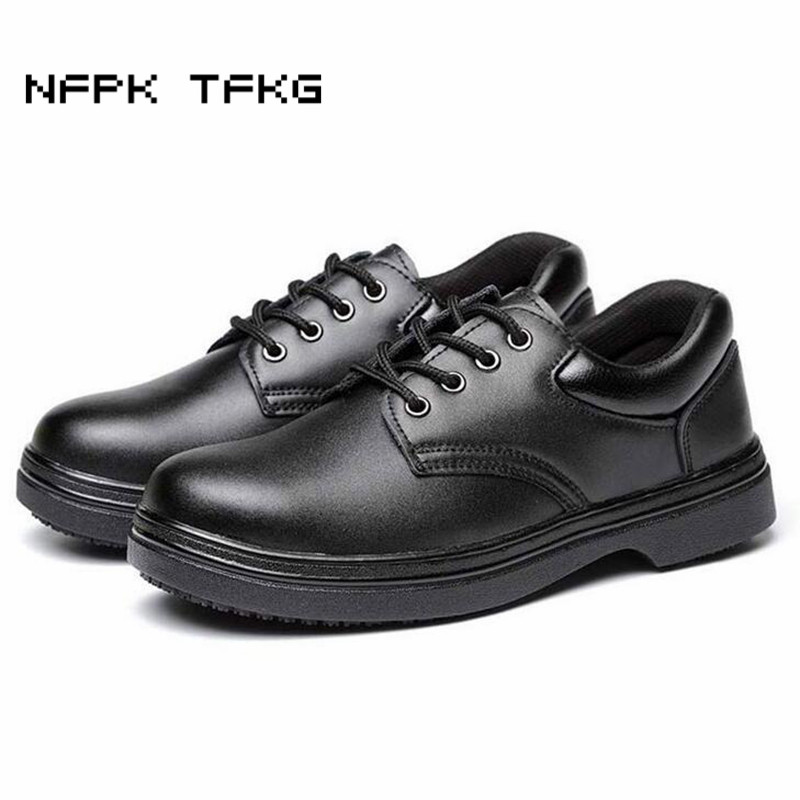 plus size men's casual breathable steel toe caps working safety chef shoes non-slip waterproof kitchen cook soft leather boots france tigergrip waterproof work safety shoes woman and man soft sole rubber kitchen sea food shop non slip chef shoes cover