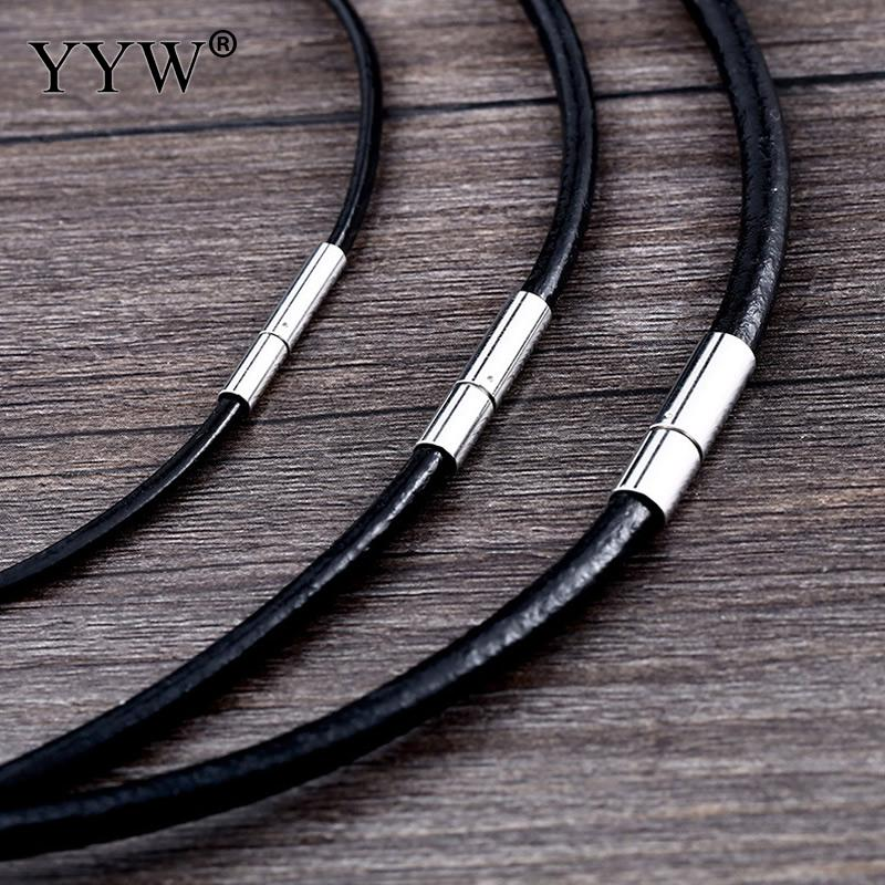 Choker Necklace 2mm Black Leather Cord Bayonet Clasp