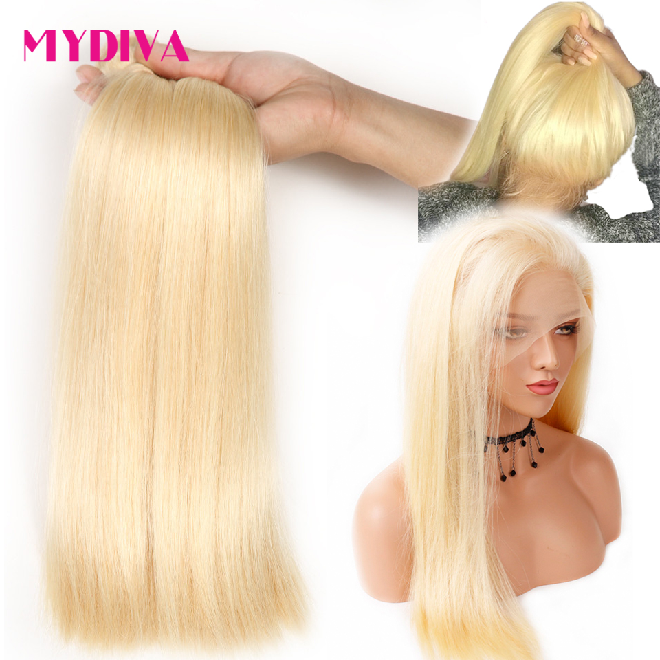 613 Bundles With Frontal Brazilian Straight Hair 360 Lace Frontal With Bundles Blonde Pre Plucked With
