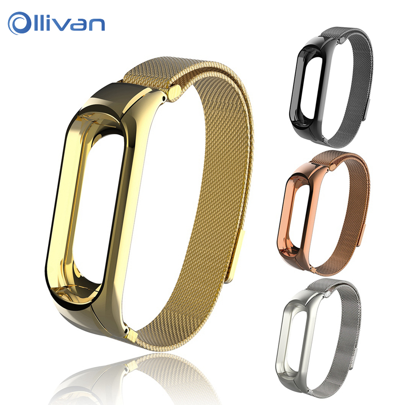 Ollivan Metal Strap for Xiaomi mi band 3 Milanese Magnetic Loop Stainless Steel Bracelet Watch band For XiaoMi MI Band 3 Strap milanese loop bracelet for xiaomi mi band 2 strap stainless steel metal wrist band for xiaomi mi band2 replacement wristband