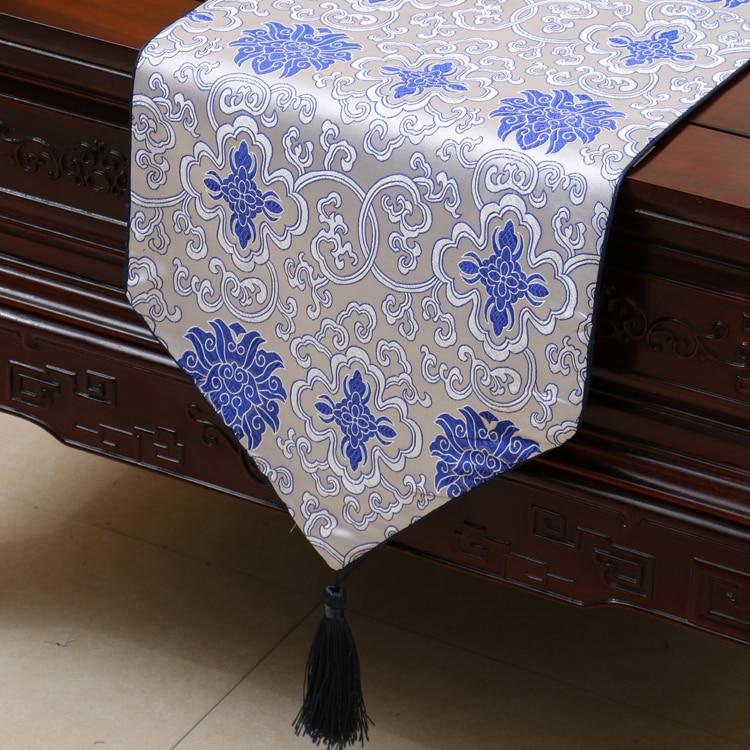 Luxury Floral Chinese Silk Table Runner Wedding Wedding Rectangle - Տնային տեքստիլ - Լուսանկար 2