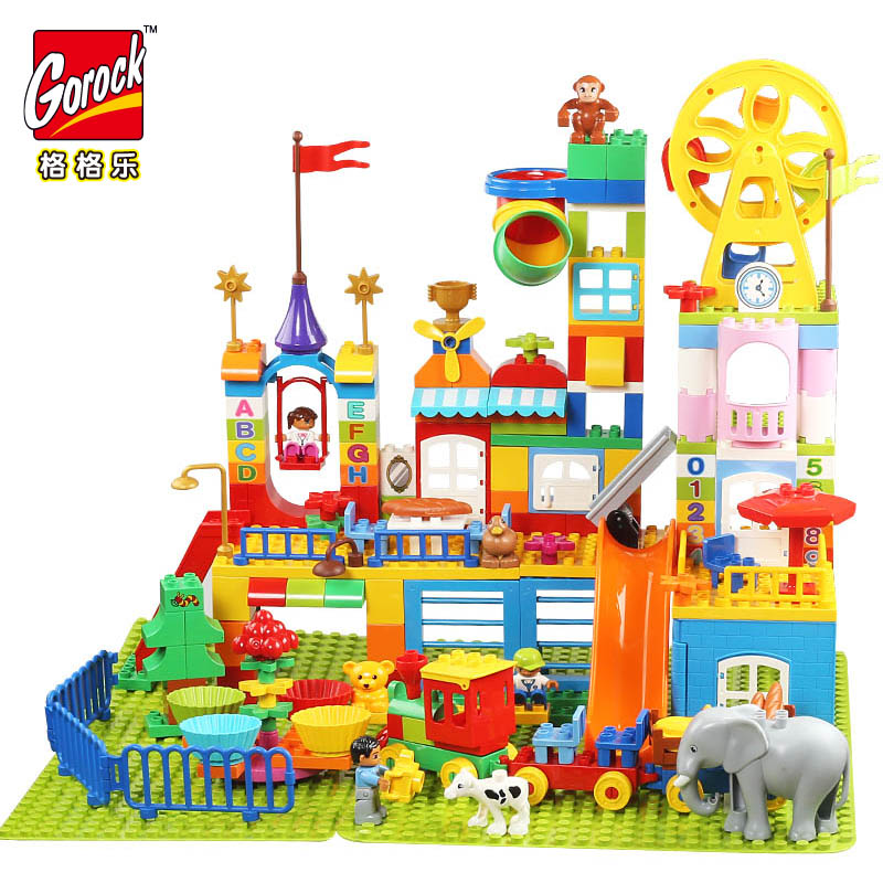 GOROCK Big Building Blocks Girl Castle Park Slide Sofa Princess Block Kids Bbay Toys Compatible with Duplo Christmas Gift diy 117pcs princess dream castle park larger particles building blocks toy kids girl best gift compatible with legoed duploe