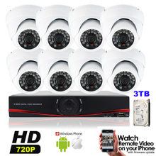 8CH AHD 720P HD 1MP Indoor CCTV System Kit 8 Channel P2P Video Surveillance 1280*720P Security Camera System Built in 3TB HDD