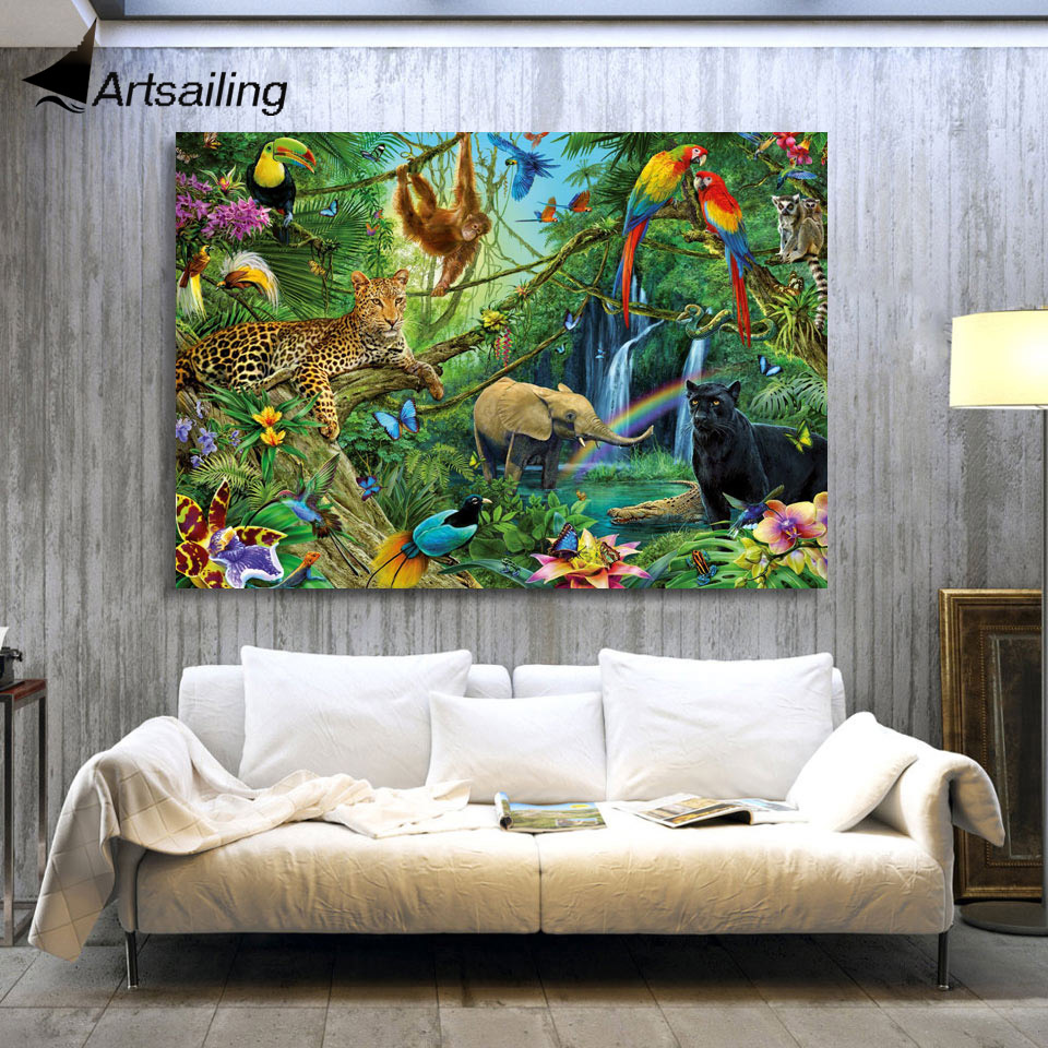 Artwork For Home Decoration: 1 Piece Canvas Art Canvas Painting Animals Kingdom Jungle
