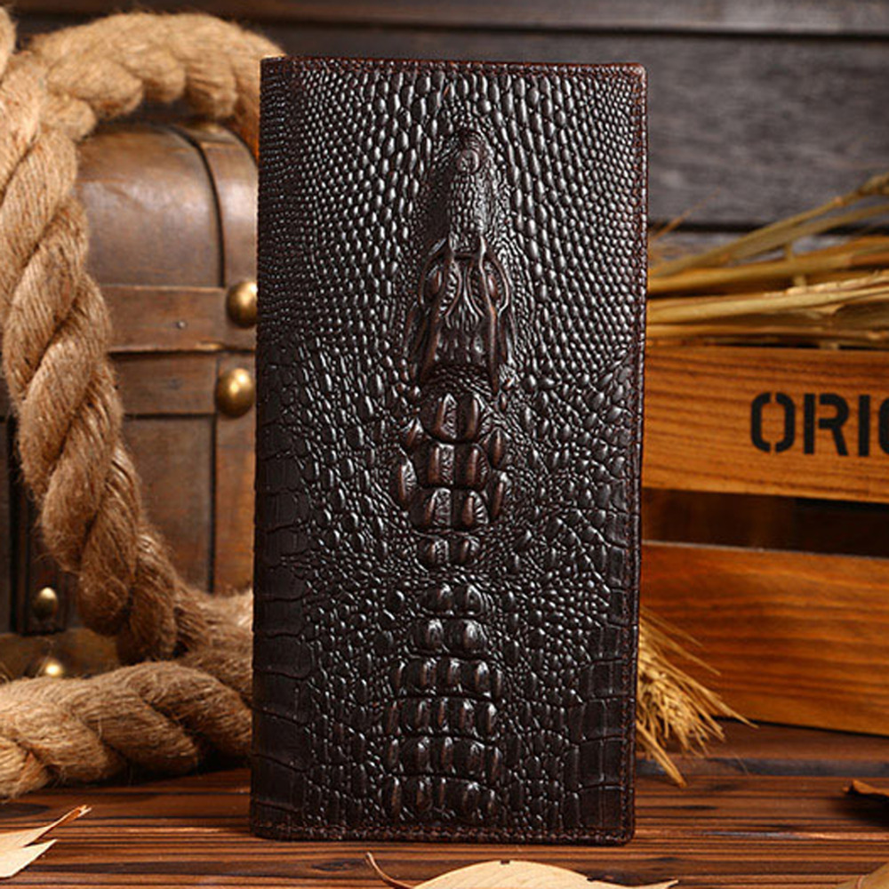 High Quality Men Genuine Leather Long Wallet Crocodile Grain Oil Wax Cowhide Retro Male Multi-Card Holder Clutch Money Bag Purse