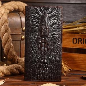 High Quality Men Genuine Leather Long Wallet Crocodile Grain Oil Wax Cowhide Retro Male Multi-Card Holder Clutch Money Bag Purse(China)