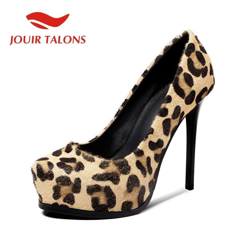 Women's Shoes Pumps Wedding Party High-Heels Leopard Sexy Horsehair 12cm Pigskin JOUIR