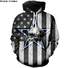 a756a0f5c8 PLstar Cosmos futebol Americano Moda 3D hoodies moletom com capuz camisa  pullover legal crânio Dallas Cowboys