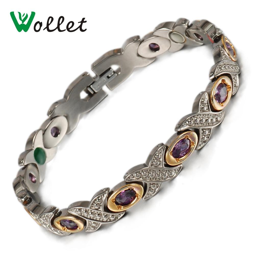 Prix pour Wollet Bijoux De Mode Autrichien Cristal Tourmaline Germanium Magnétique De Luxe De Mariage Bracelets Pur Titanium Bracelets pour les Femmes