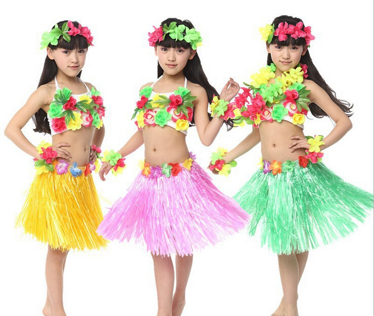 Child Hawaiian Luau Hula Flower Garland Lei Wreath Grass Dress Dance Party Costume-in Dresses from Mother u0026 Kids on Aliexpress.com | Alibaba Group  sc 1 st  AliExpress.com & Child Hawaiian Luau Hula Flower Garland Lei Wreath Grass Dress Dance ...