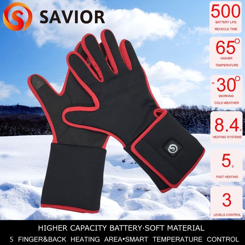 SAVIOR Heated glove liner women outdoor sports heating gloves red attractive design 3 levels smart control fast heat SHGS05R