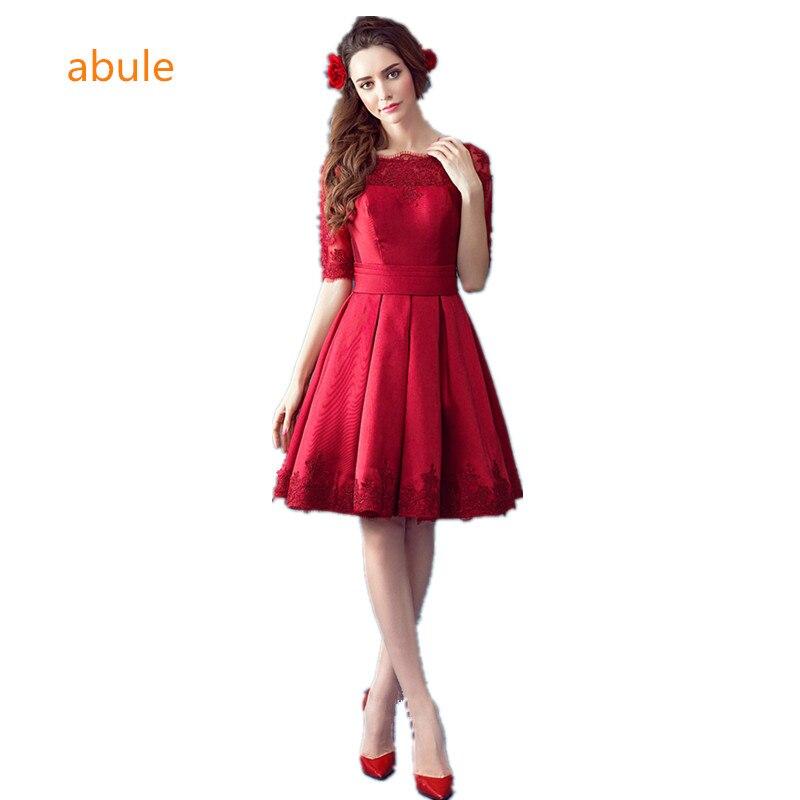 abule 2017 нареченої одружений банкет партії evrning плаття щілину короткий тонкий вино червоного мережива елегантний формальний випускний сукні безкоштовна доставка