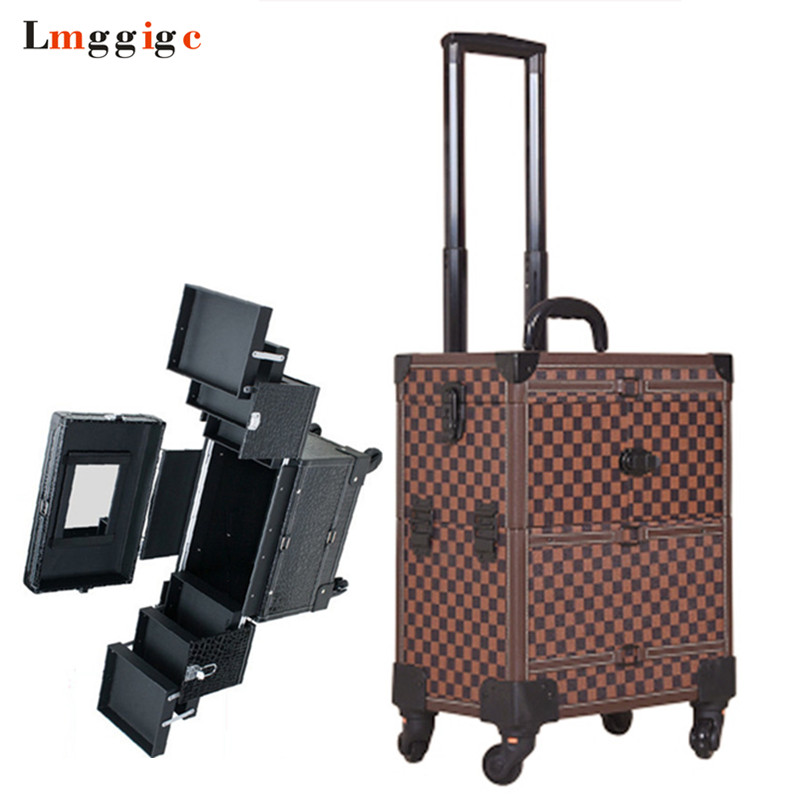 Rolling Cosmetic Bags,Wheel Makeup Nails Toolbox,Multi-layer Makeup Tools bag,Trolley Case, Beauty Box Travel Luggage Suitcase