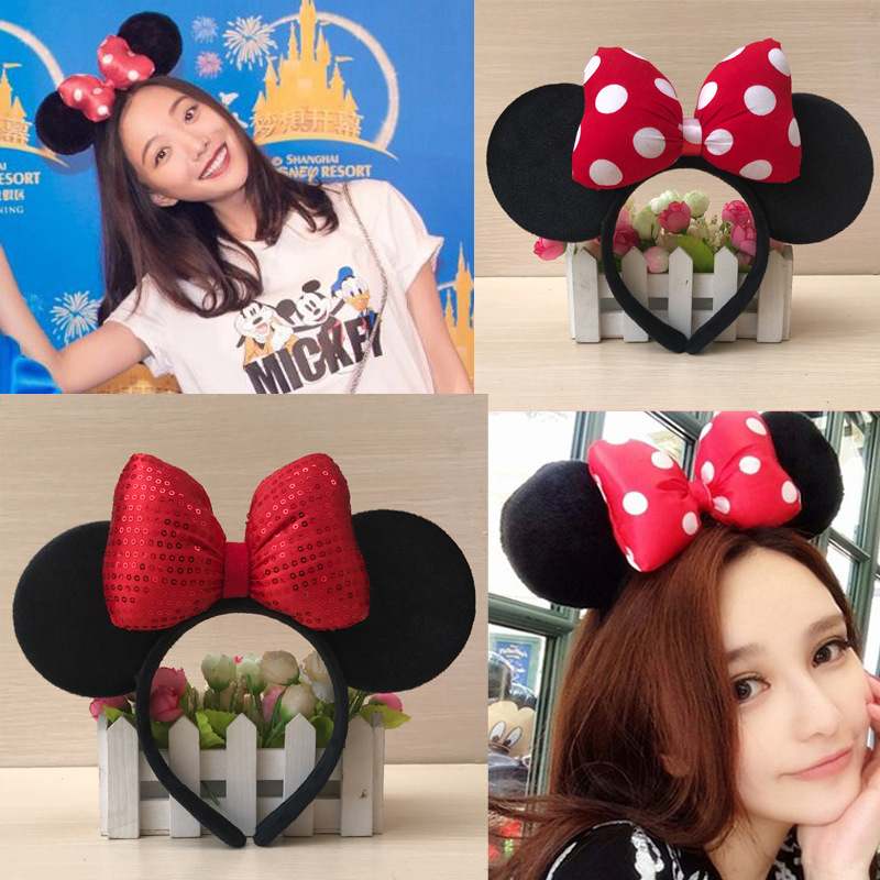 Disney Mickey Mouse Children's HairHoop Bowknot Head Ornament Hairpin Toy Hat Valentine's Day Gift Birthday Party