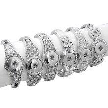 Горячая украшения с кнопкой из металла оснастки браслет Стразы Серебряный браслет подходит 18 мм 20 мм Кнопка ювелирные изделия для женщин