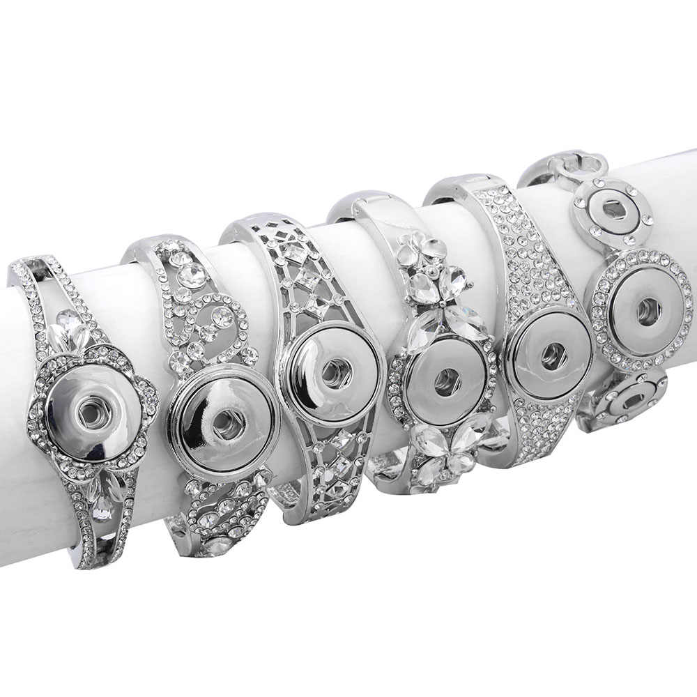 Hot Sale Snap Jewelry Metal Snap Bracelet Bangle Rhinestone Silver Bracelet Fit 18mm 20mm Snap Button Jewelry For Women