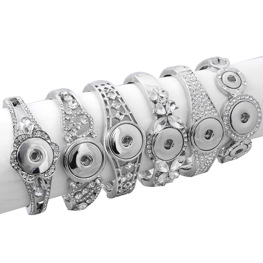 Hot Sale Snap Jewelry Metal Snap Bracelet Bangle Rhinestone Silver Bracelet Fit 18mm 20mm Snap Button Jewelry For Women bangle