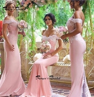 Sexy Off the shoulder Mermaid Bridesmaid Dresses Floor Length Pink Chiffon Lace Wedding Guest Dress