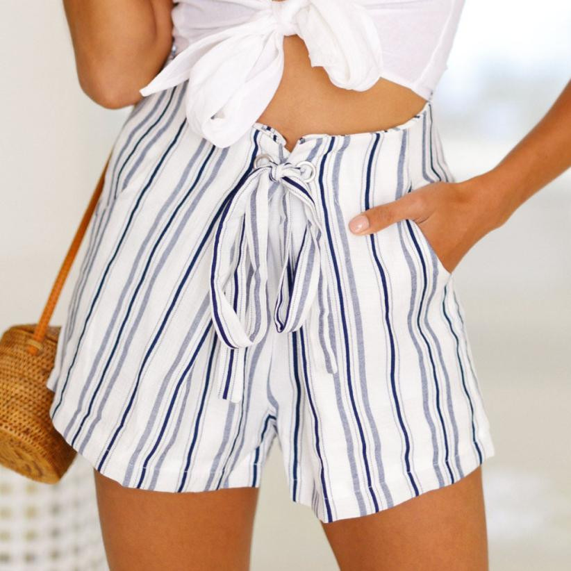Bohemian Style   Short   Women Sexy Striped Hot Summer Casual   Shorts   Lace Up Mid   Shorts   Feminino Cintura Alta White   Short   #5