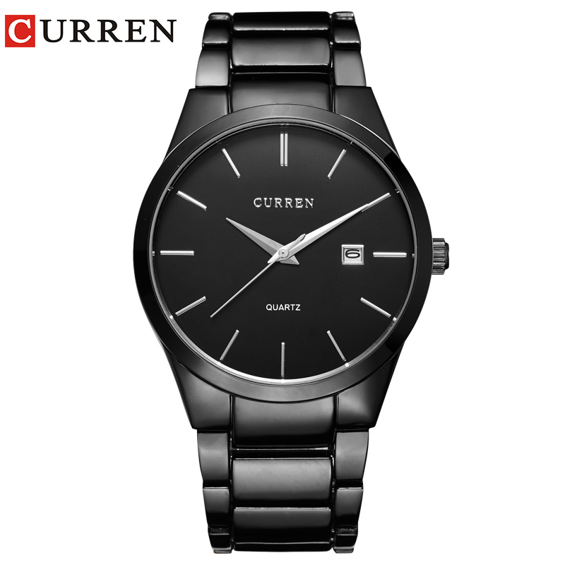 CURREN 8106 Men 30M Waterproof Sports Casual Watches Mens Hour Date Month Stainless Steel Quartz Watches Relogio Feminino Black
