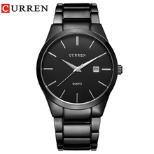 CURREN 8106 Men 30M Waterproof Sports Casual Watches Mens Hour Date Month Stainless Steel Quartz Relogio Feminino Black