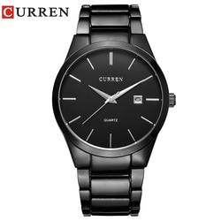 CURREN 8106 Men 30M Waterproof Sports Casual Watches Mens Hour Date Month Stainless Steel Quartz Watches Relogio Feminino Black