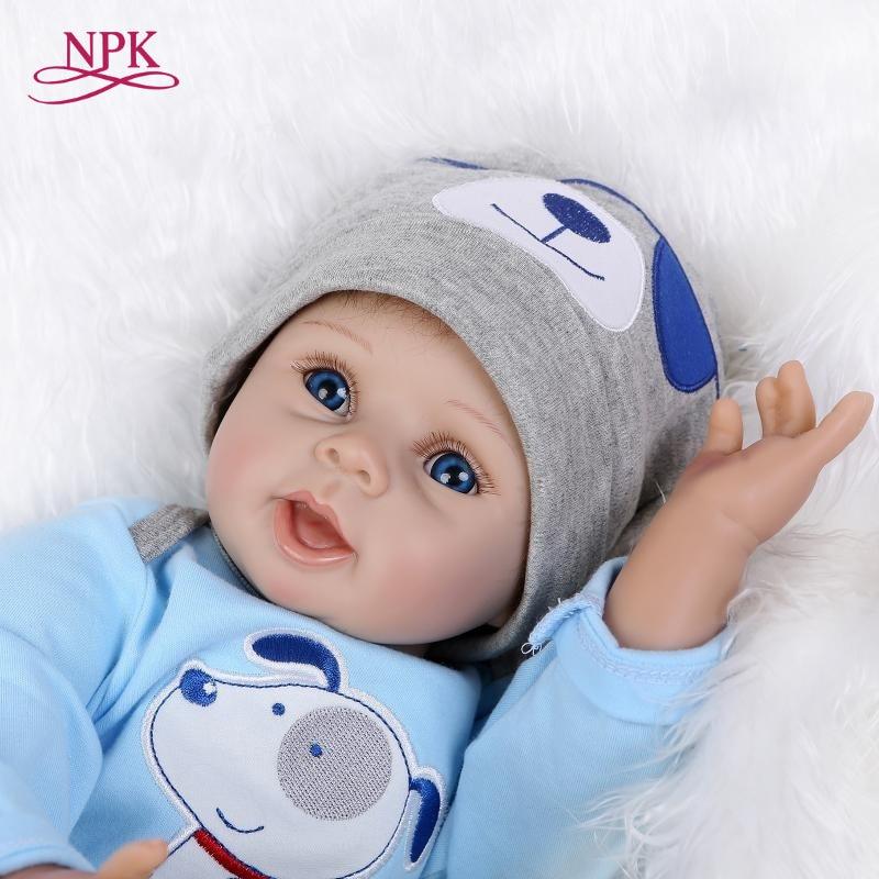 NPK réaliste bleu chien poupée très doux 22 pouces reborn bébé poupée réaliste doux silicone vinyle réel doux toucher