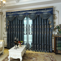 European Pastoral Simple Bedroom Living Room Curtains Modern Chinese Chenille Embroidery Living Room Villa Blue Curtains