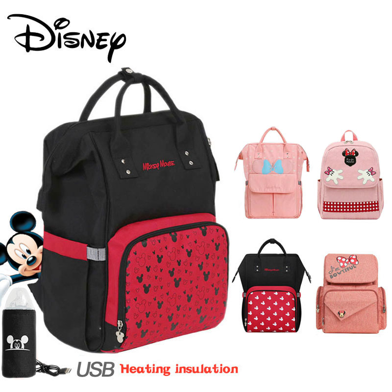 Disney Diaper Bag Backpack USB Bottle Insulation Bags Minnie Large Capacity Travel Oxford Feeding Baby Care Bags Mummy Handbags