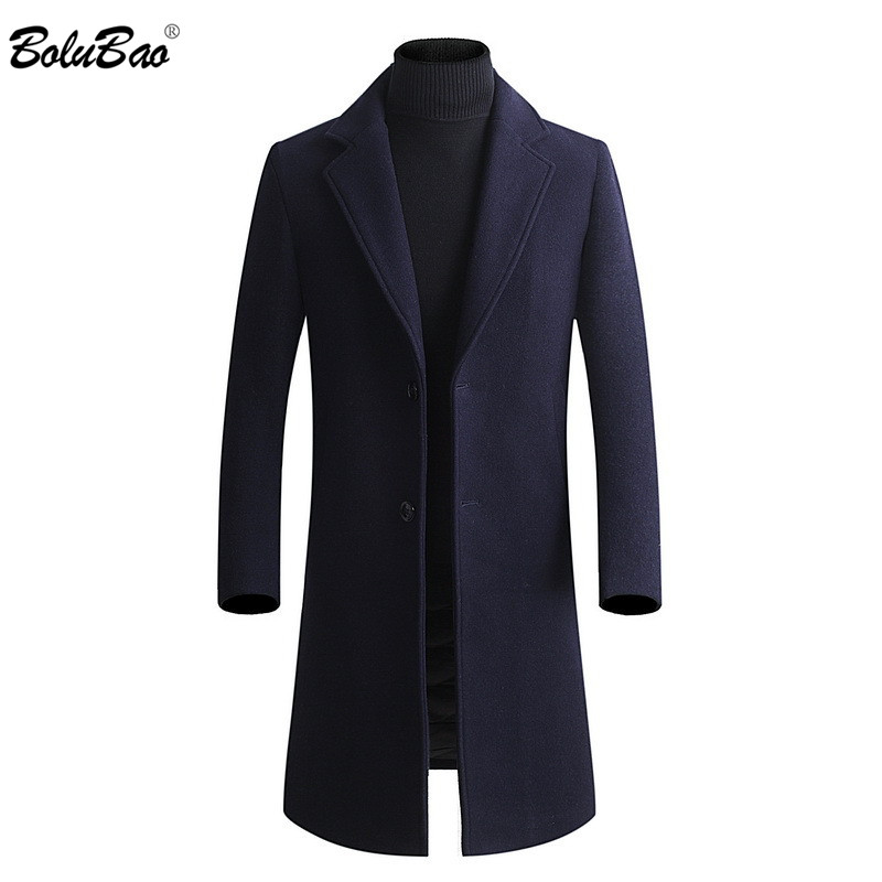 BOLUBAO Men Thickening Wool Coat 2019 Winter Mens Slim Fit Fashion Warm Outerwear Men's Casual High Quality Wool Coats
