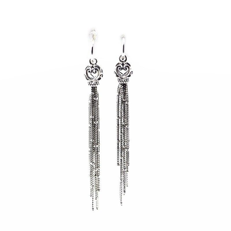 Pandulaso Enchanted Tassels Drop Earrings for Women 2018 Fashion 925 Sterling Silver Jewelry Long Earrings Girls Fine Earrings