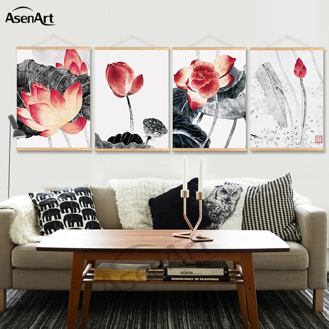 € 7.81 25% de réduction Minimaliste Peinture Affiche Et Impression Lotus  Rouge Noir Blanc Avec Défilement Cintre pour Chambre Chambre Décoration  dans ...