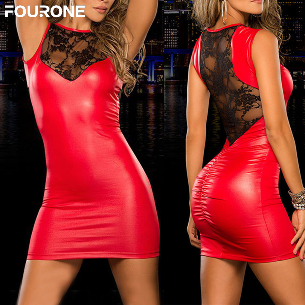 Tight-fitting <font><b>Sexy</b></font> Lace <font><b>Dress</b></font> Slim Wet Look Fetish Bondage Vinyl <font><b>Black</b></font> Red PVC <font><b>Dress</b></font> Leather Bodycon image