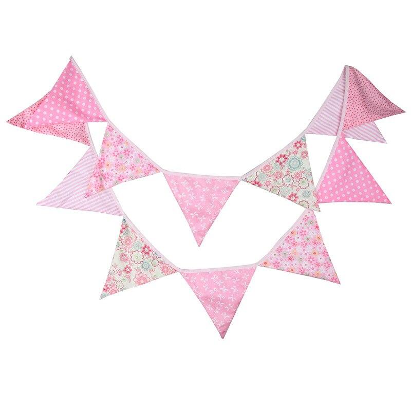 12 флагов, 3,2 м, розовый пасторальный дизайн, хлопковая ткань, флажки, флажки, баннер, гирлянда, «Baby Shower»/«сделай сам», украшение для дома на отк...