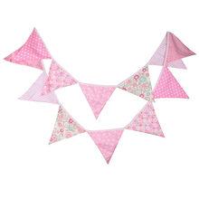 12 bandeiras 3.2m rosa pastoral design tecido de algodão bunting bandeiras flâmula bandeira guirlanda chuveiro do bebê/ao ar livre diy decoração para casa