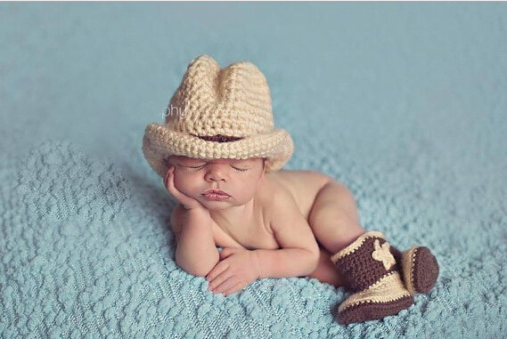 7e04e72e1a4 Free Shipping Cute Handmade Newborn Baby Crochet Western Cowboy Hat with  boots Photo Photography Props