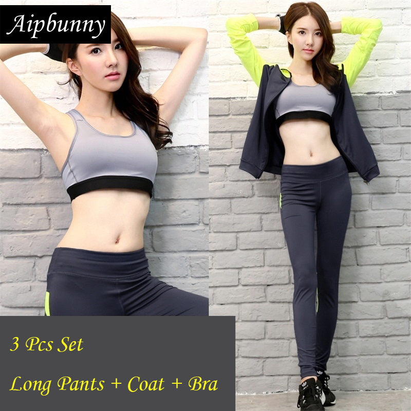 Aipbunny 3 Piece Yoga Sets 2017 Gym Fitness Women Exercise Activewear Running Outfit Suits Workout Crossfit Clothing SportsWear