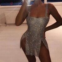 Sexy Metal Chain Crystal Rhinestones Diamonds Strap Dresses Backless Split Dress Luxury Festival Nightclub Party Women Vestido