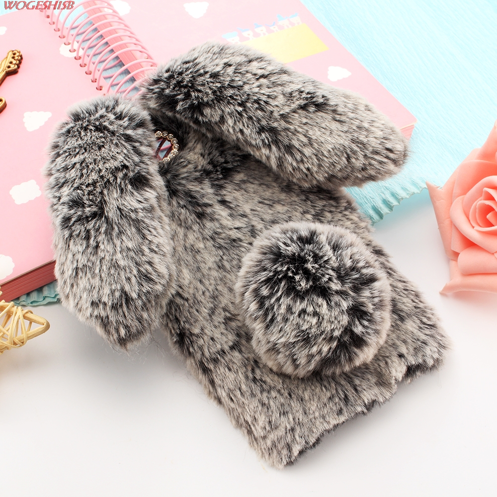 New 3D Rabbit Bunny Toy Phone Case High Quality Artificial Cony Hair TPU Back Cover for Lenovo A1000 A1010 A2010 A2020 A3800