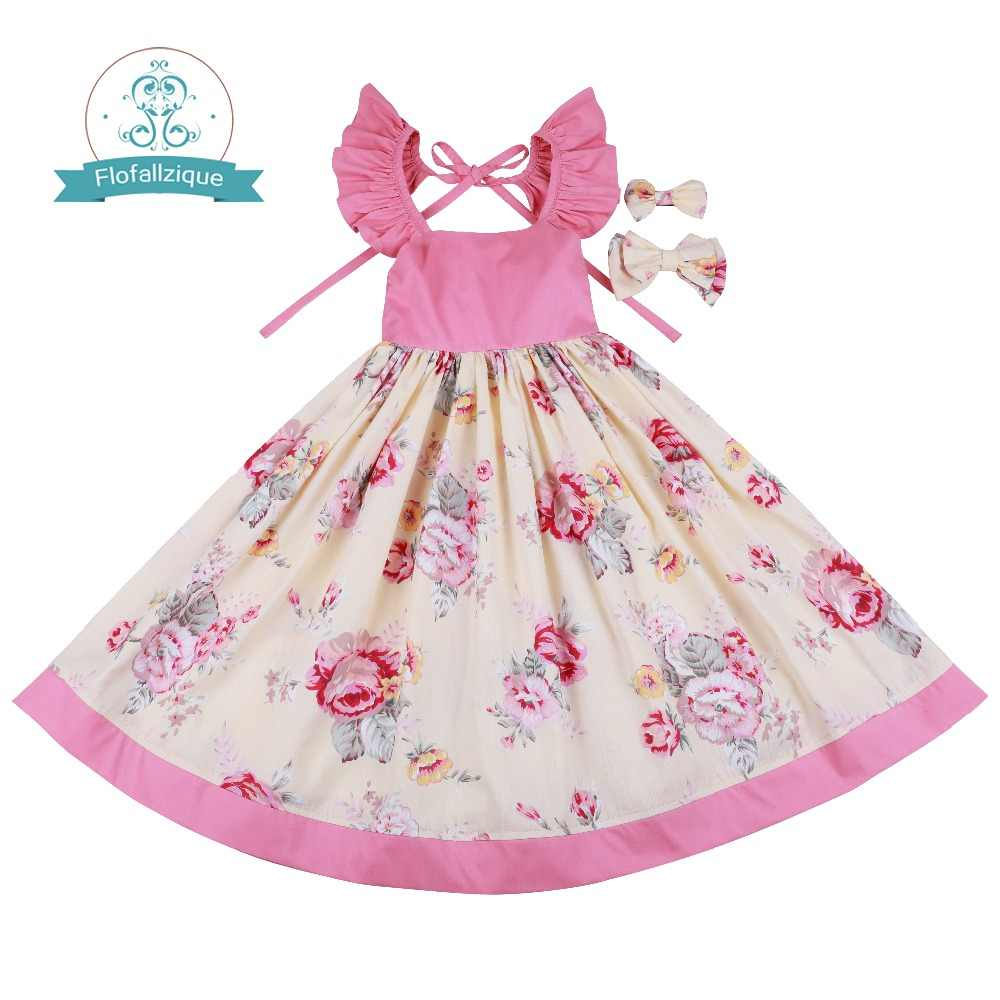 e15606ba9f8a7 Flofallzique Cotton Vintage Printed Floral Sweet Kids Clothes With tow bow  Clips Party Wedding Casual Cute girls dress 1-10Y