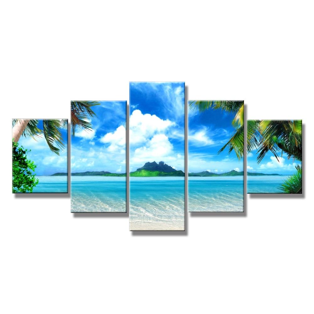 Muur canvas schilderij strand blauw landschap muur foto's voor de - Huisdecoratie