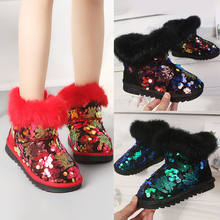 Sycatree Cute Fashion Splicing Kid Winter Sequin Casual shoes Zipper Snow Boots for Girls Warm Fur Leisure Antiskid Cotton Shoes(China)
