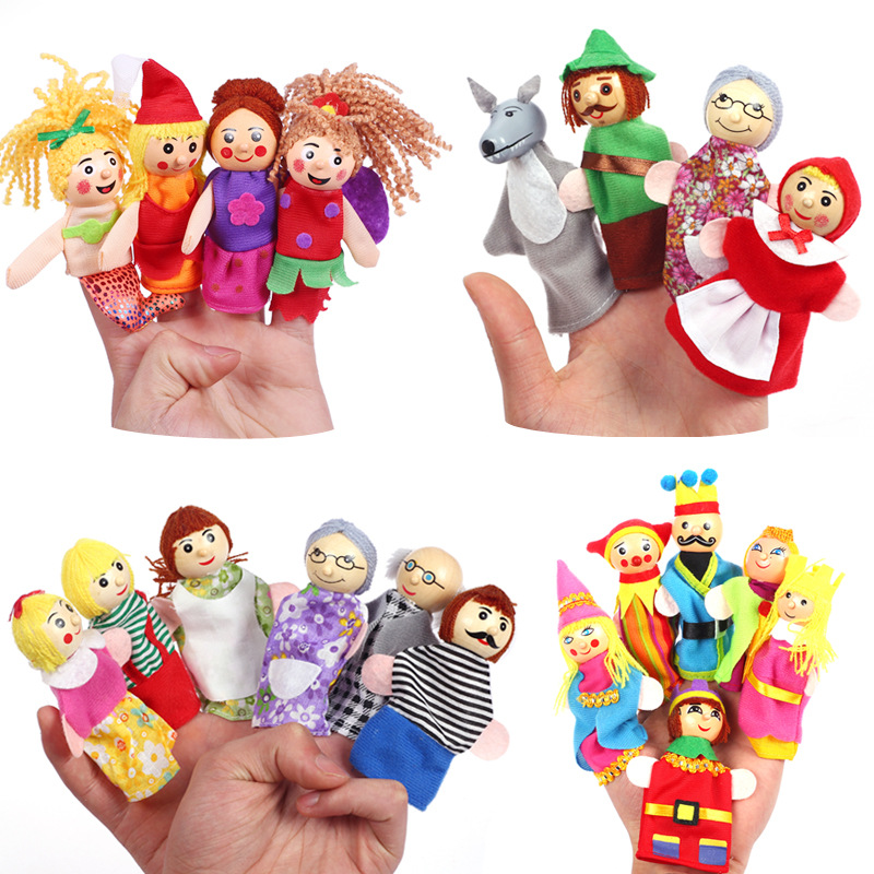 1 Set Kindergarten Finger Pair Story Telling Fairy Tale Character Language  Doll Baby Toys Kid Gift BS62