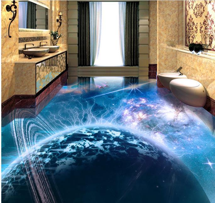 ФОТО waterproof 3d flooring vinyl wallpaper Planet spaceship kitchen wallpaper 3d floor murals pvc wallpaper