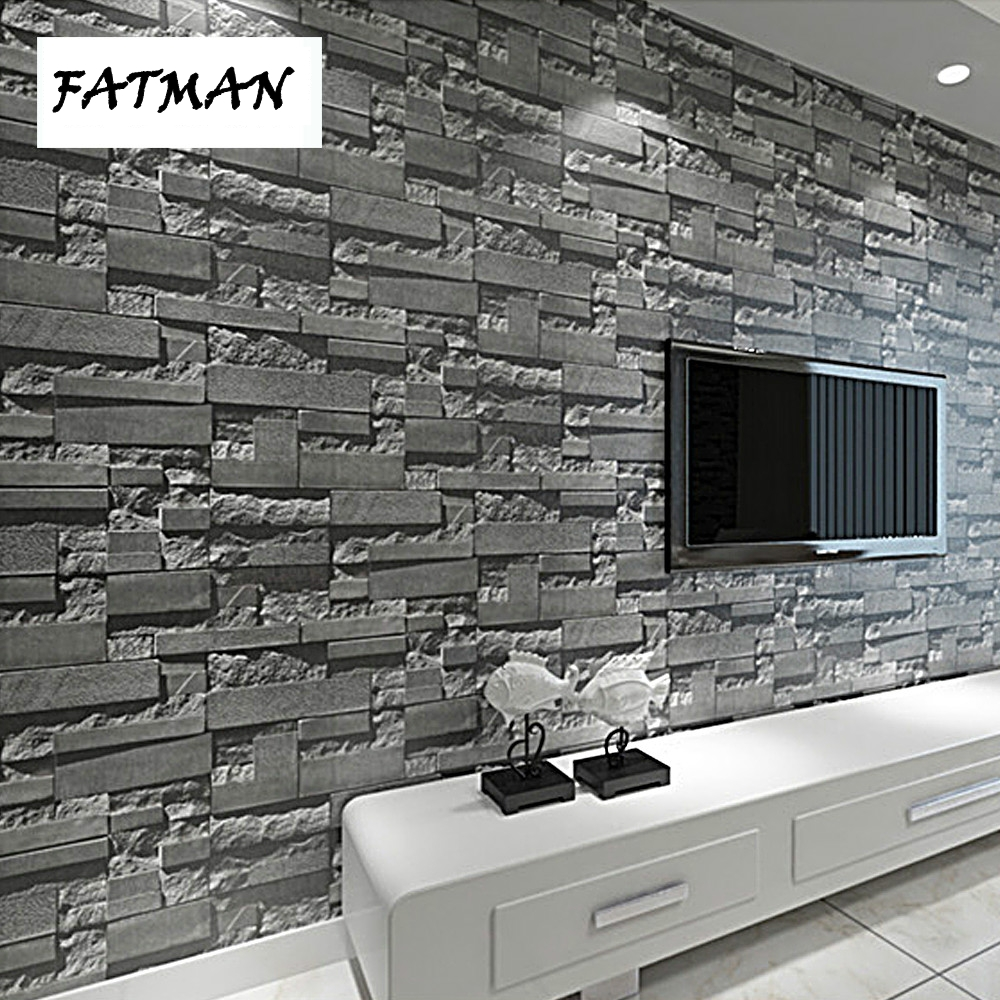 FATMAN 3d modern brick pattern stone wallpaper roll grey brick wall background stereoscopic look for living room pvc wallpaper beibehang stone brick wall 3d wallpaper roll modern retro pvc vinyl wall bedroom living room background wallpaper for walls 3 d