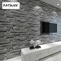 FATMAN 3d Modern Brick Pattern Stone Wallpaper Roll Grey Brick Wall Background Stereoscopic Look For Living