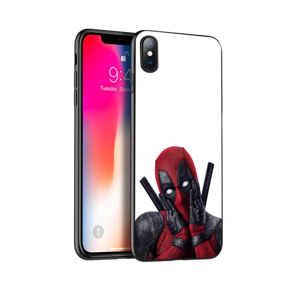 Negro caso del tpu para el caso de iphone 5 5s se 6 6s 7 8 plus x 10 funda de silicona para iphone XR XS MAX caso 3D super Cool Marvel Deadpool